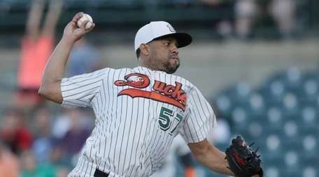 Ducks pitcher Francisco Rodriguez #57 pitching in the
