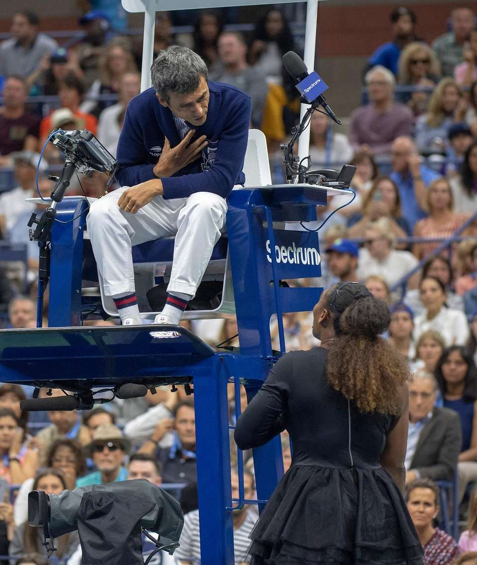 Serena Williams having words with the chair official