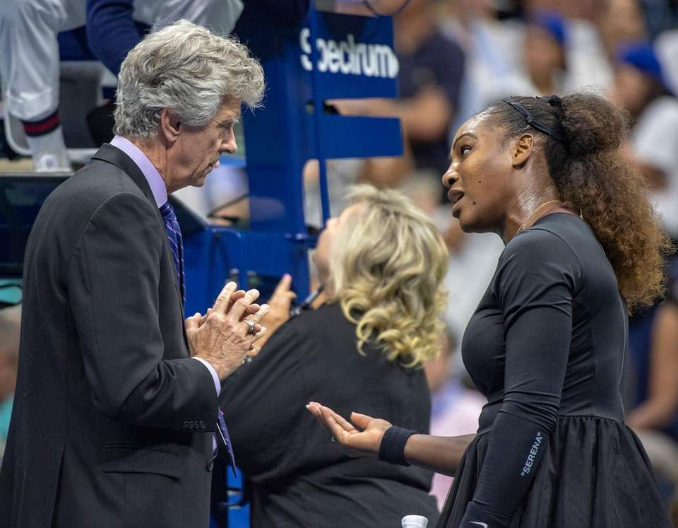 Serena Williams having words with the tournament officials