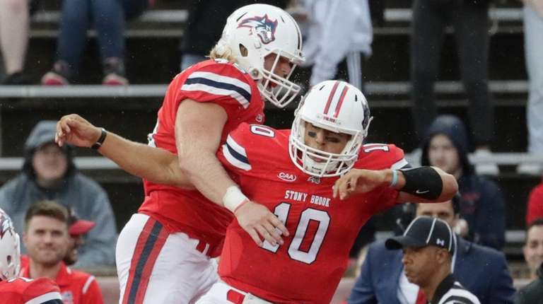 Stony Brook quarterback Joe Carbone #10 celebrates with