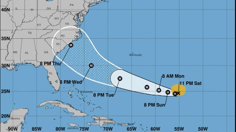 The potential track for Tropical Storm Florence as
