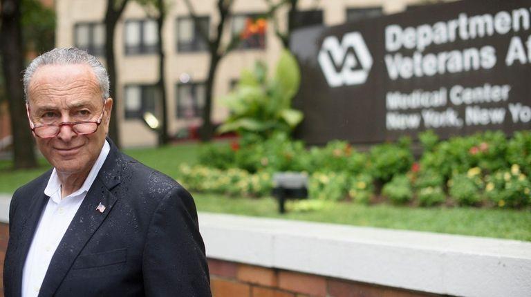 Sen. Chuck Schumer outside the VA Medical Center