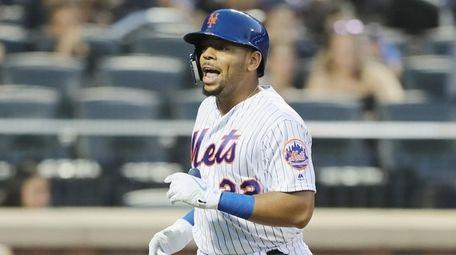 Dominic Smith of the New York Mets celebrates