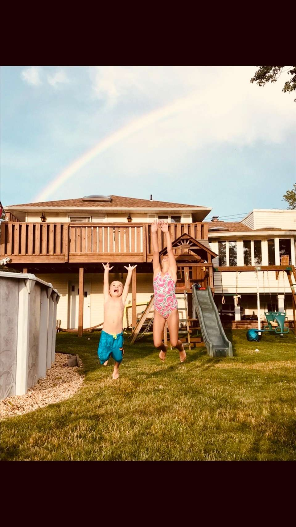Brooke and James reaching for a rainbow!