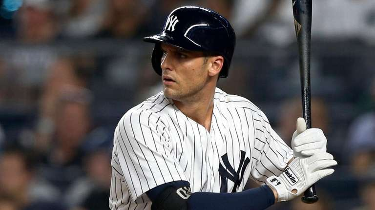 Greg Bird of the Yankees bats against the