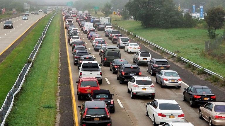 Westbound Sunrise Highway was at a standstill, as