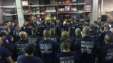 Members of New York Task Force One prepare