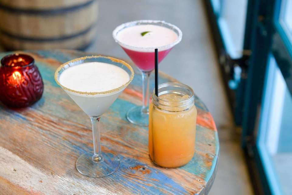 A key lime martini, prickley pear margarita and