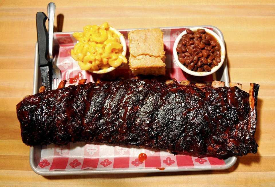 St. Louis style barbecue ribs are served at