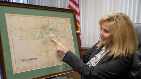 Hempstead Town Supervisor Laura Gillen looks at an