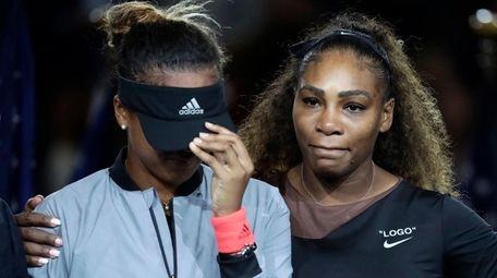Naomi Osaka and Serena Williams after Osaka's U.S.