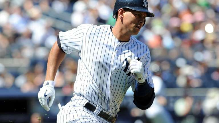 New York Yankees' Alex Rodriguez runs the bases