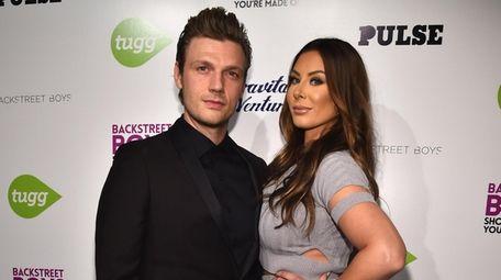 Nick Carter and Lauren Kitt attend the premiere