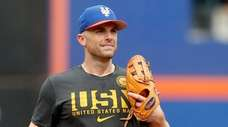 David Wright of the Mets participates in a