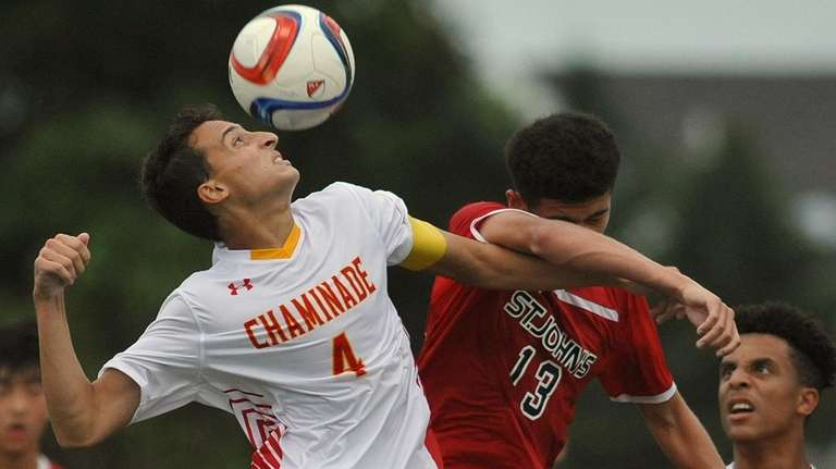 Evan Bandini #4 of Chaminade, left, heads a