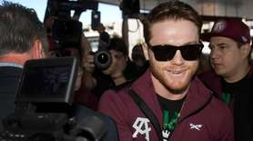 Middleweight boxer Canelo Alvarez of Mexico greets a