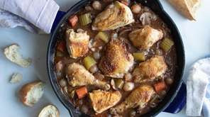 Chicken is browned, braised and roasted with vegetables
