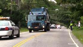 A motorcycle struck and killed a sanitation worker