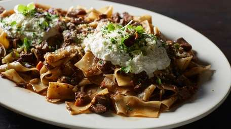 A dish of house-made pappardelle with an earthy