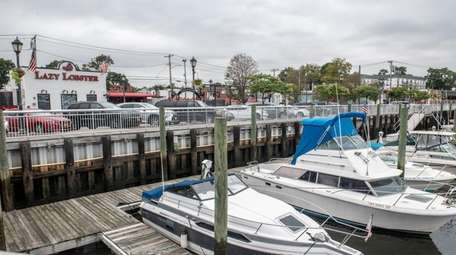 Boats line the marina in East Rockaway.