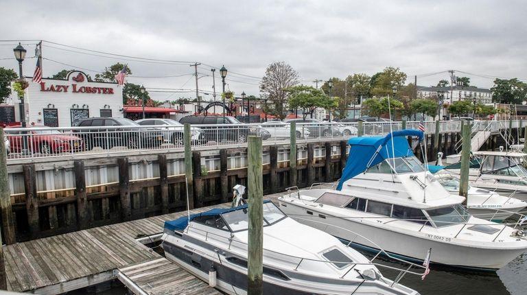 Boats line the marina in East Rockaway.