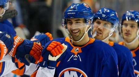 Jordan Eberle of the Islanders celebrates his goal