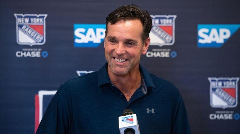 Rangers coach David Quinn speaks to media at