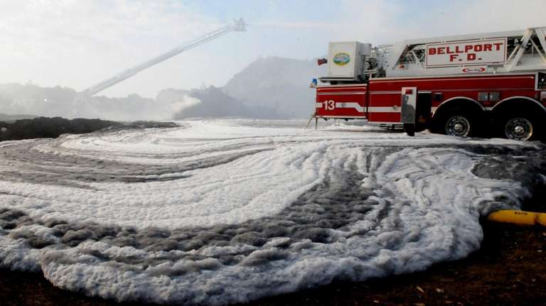 Foam used to put out an early-morning fire