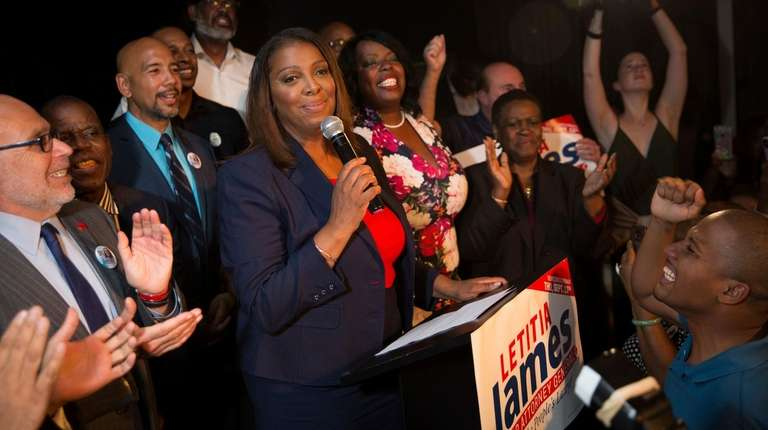 Letitia James delivers a victory speech after winning
