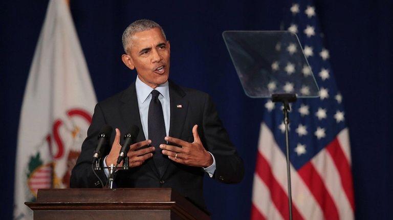 Former President Barack Obama speaks to students at