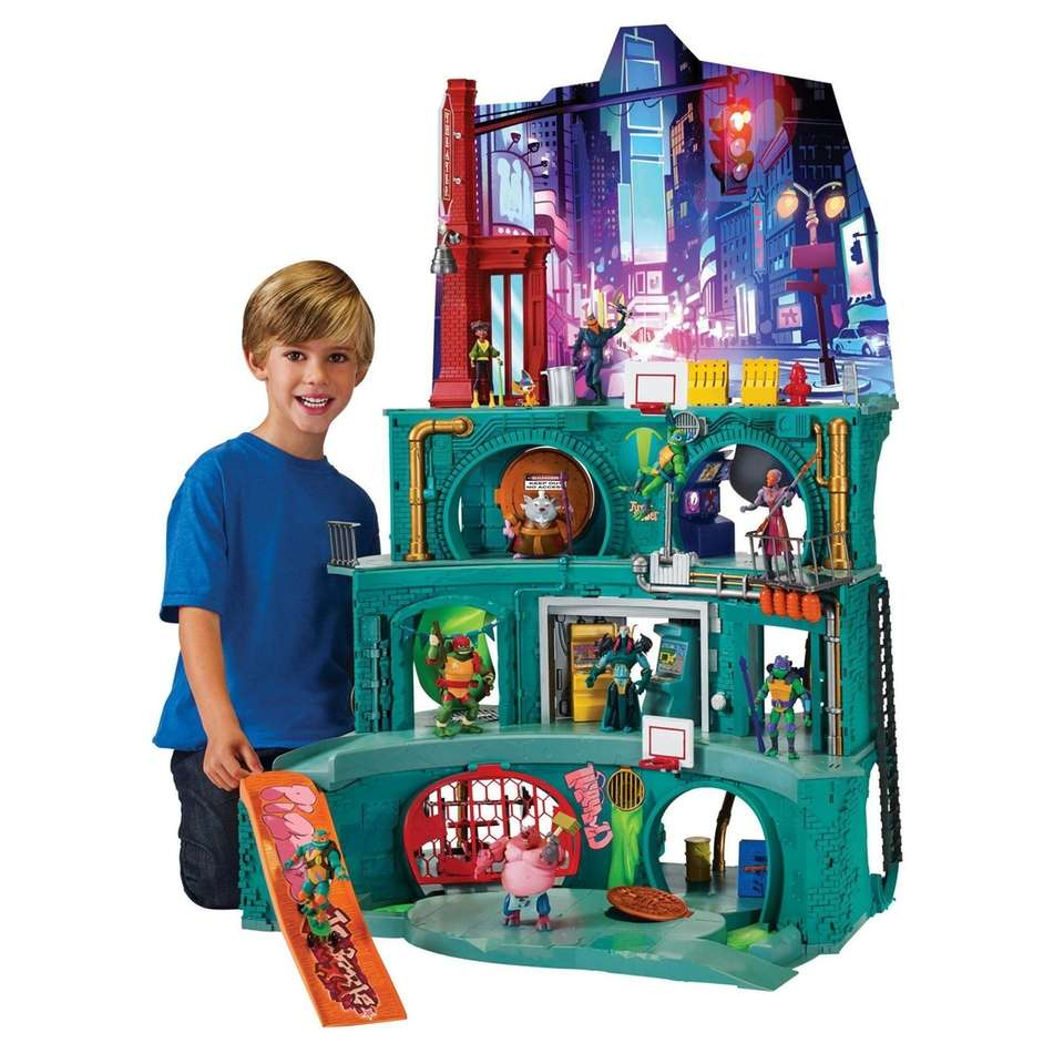 This big playset stands 43 inches tall and
