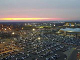 An aerial view of Nassau Coliseum in 2017.