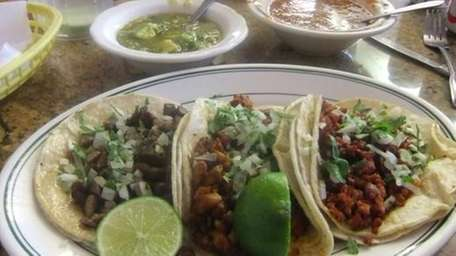 A trio of tacos at Gabino's Diner in