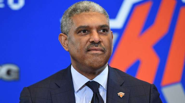 Knicks president Steve Mills looks on during a
