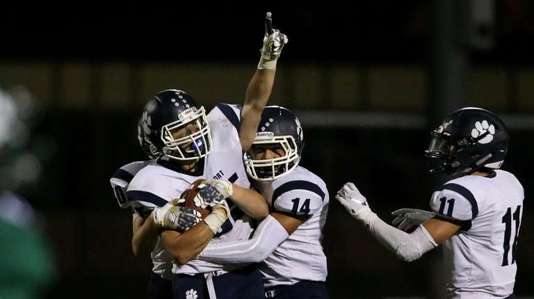 Northpport's Justin Gerdvil after his interception sealed the
