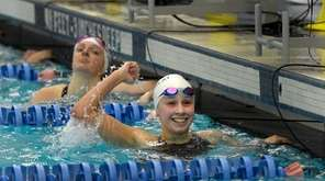 Northport-Commack's Chloe Stepanek celebrates her win in the