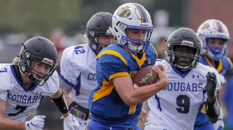 Quarterback Mike LaDonna has West Islip off and