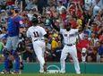 Boston Red Sox' Jackie Bradley Jr (R) celebrates