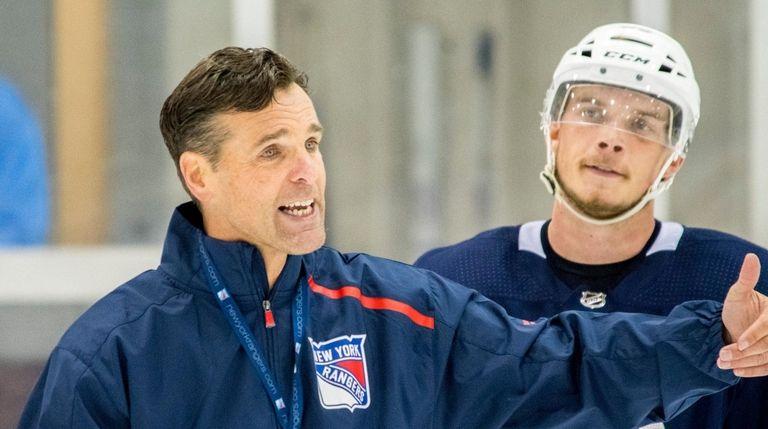 Rangers head coach David Quinn speaks during the