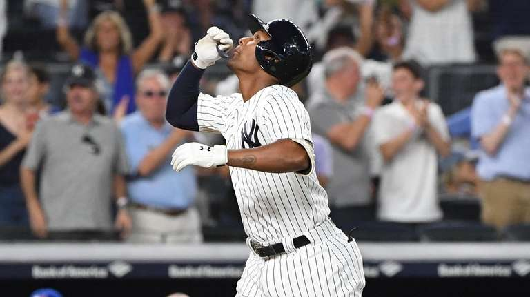 yNew York Yankees' Miguel Andujar reacts as he
