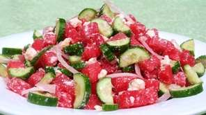 Watermelon, Cucumber and Blue Cheese Salad. ( Photo