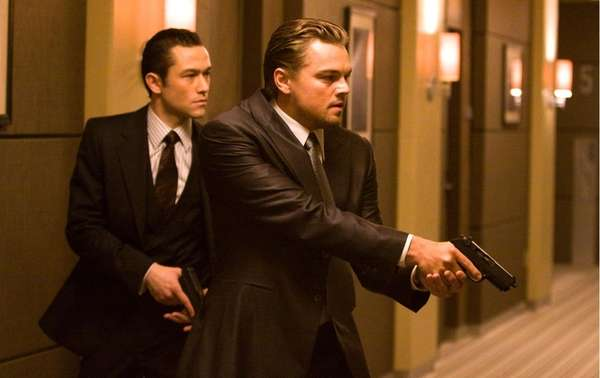 Joseph Gordon Levitt, left, and Leonardo DiCaprio are