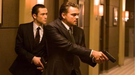 Joseph Gordon Levitt and Leonardo DiCaprio are shown