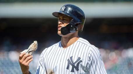New York Yankees'  Giancarlo Stanton is out