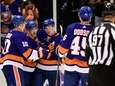 Cal Clutterbuck of the New York Islanders scores