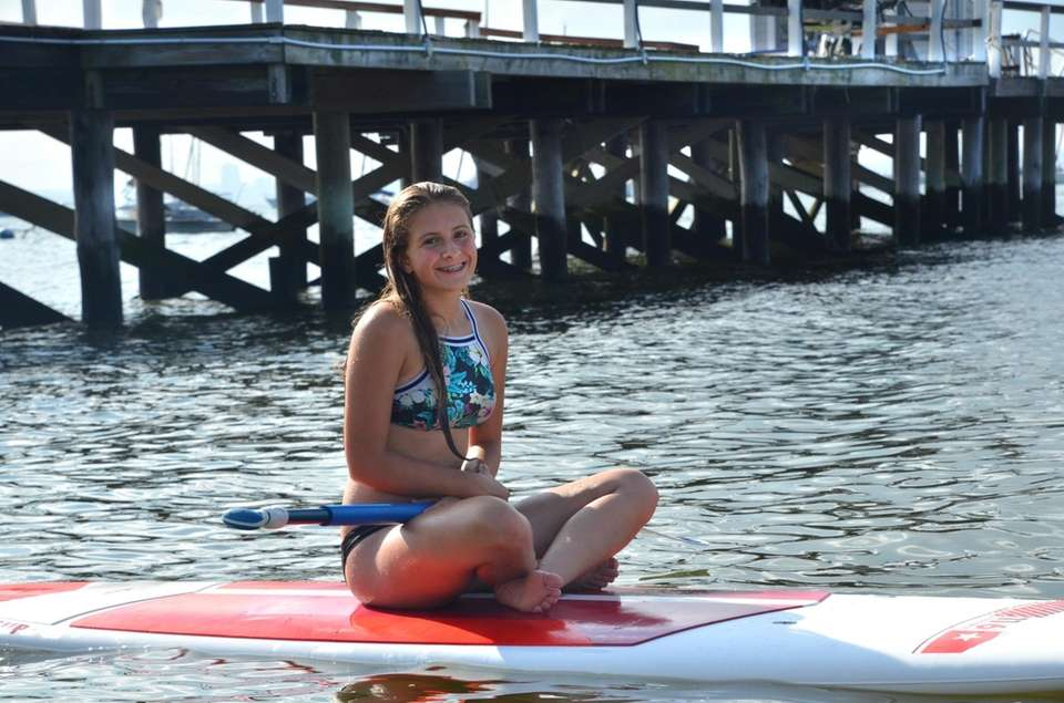 Catherine 1st time on the Paddle board. August