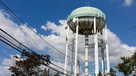 The old water tower in Farmingdale, seen here