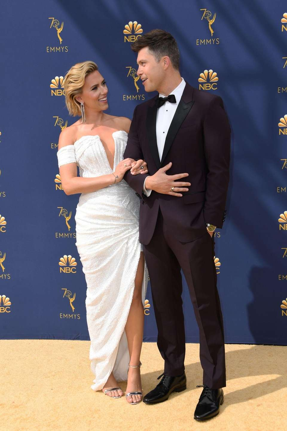 Scarlett Johansson and Colin Jost arrive for the