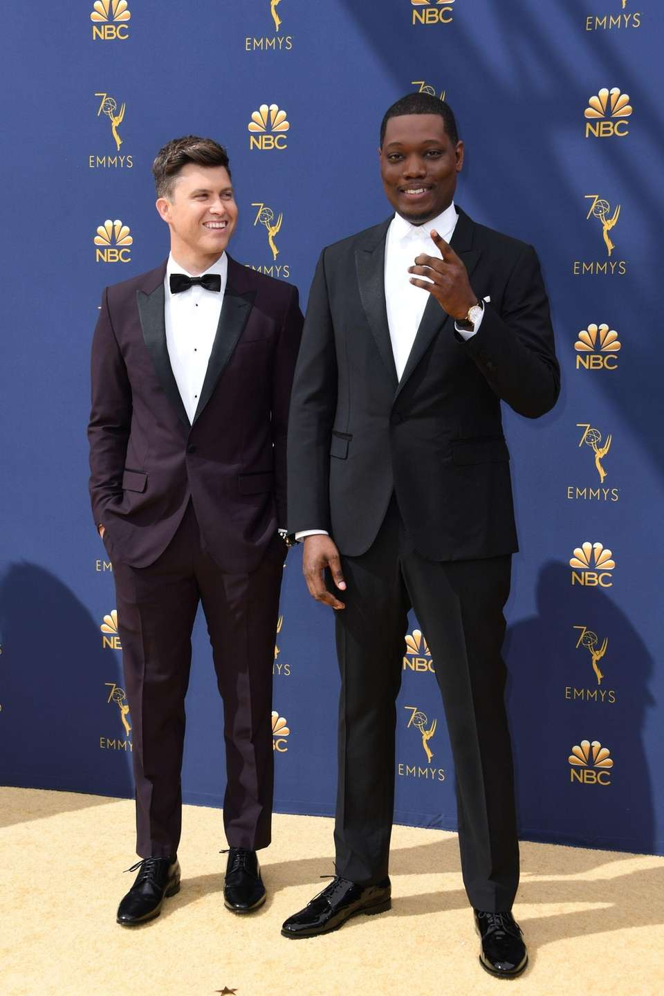 Emmy hosts Colin Jost, left, and Michael Che