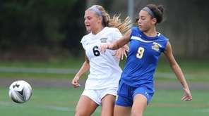 Northport's Paige Leonard (6) and West Islip's Frankie
